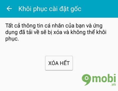 khoi phuc cai dat goc samsung