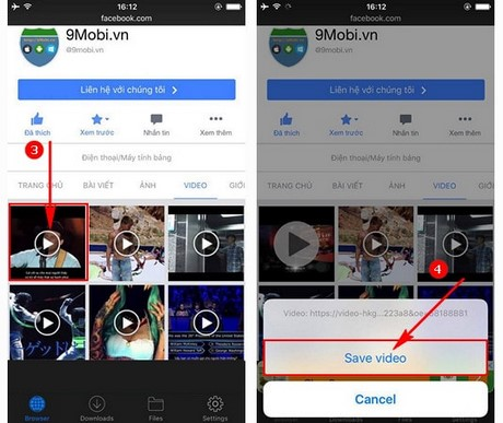 download video facebook cho iPhone 7