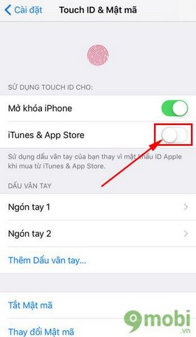 huong dan dung van tay de tai ung dung iPhone