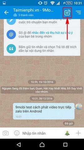 huong dan cach phat video truc tiep zalo tren android