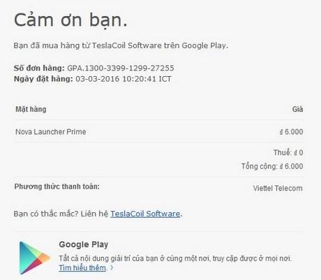 mua app trên google play bang tai khoan viettel