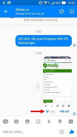chia se file dropbox tren facebook