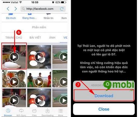 tai video facebook tren iphone