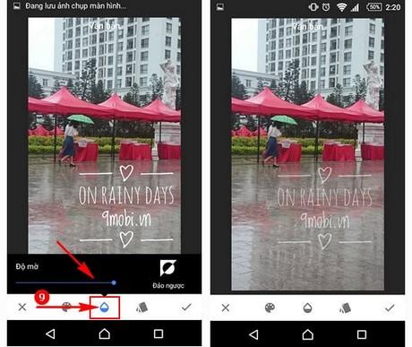 chen chu vao anh tren Android