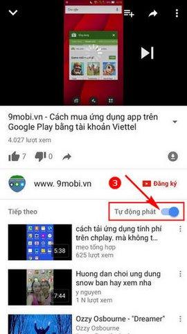 tat tu dong chuyen video Youtube cho iPhone