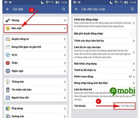 Delete Account facebook tren Android
