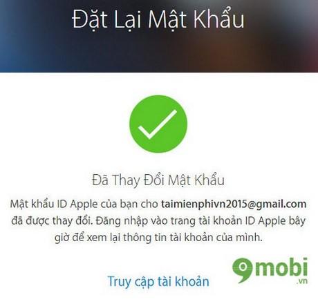 lay lai password Apple ID
