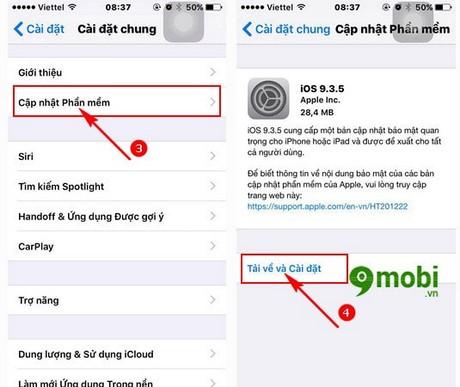 cach update 9.3.5 cho iphone