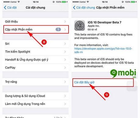 update ios 10 beta cho iPhone