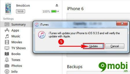 nang cap iOS 9.3.5 cho iPhone