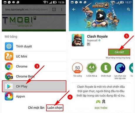 cai Clash Royale tren Android