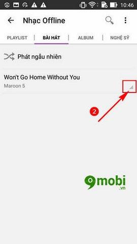xoa bai hat tren Zing Mp3 cho Android