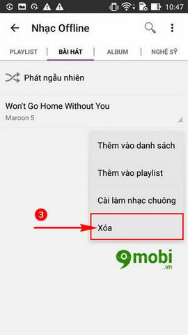 cach xoa bai hat Zing MP3 cho Android
