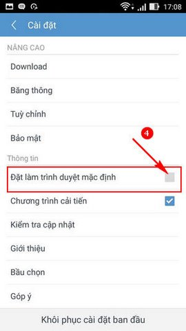 dat uc browser mini lam trinh duyet mac dinh