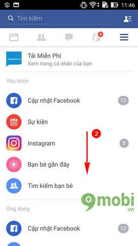 thoat tai khoan Facebook tren Android