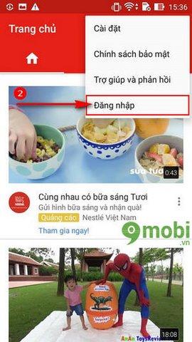 login tai khoan Youtube cho Android