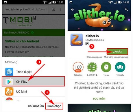 cach tai slither.io tren Android