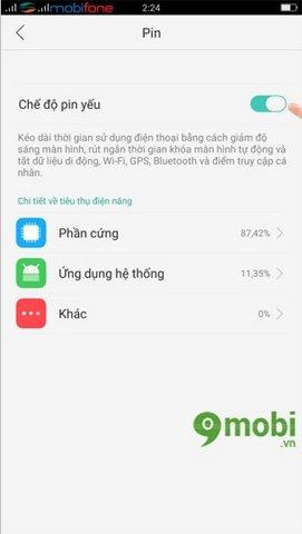 kich hoat low battery mode Oppo F1s