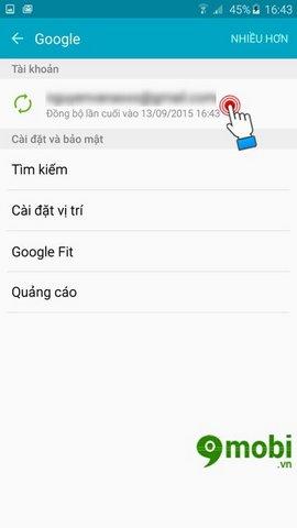 xoa tai khoan google tren android
