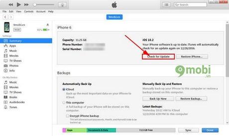 Nâng cấp iOS 10.2.1 qua iTunes, update iOS 10.2.1 trên máy tính, cách