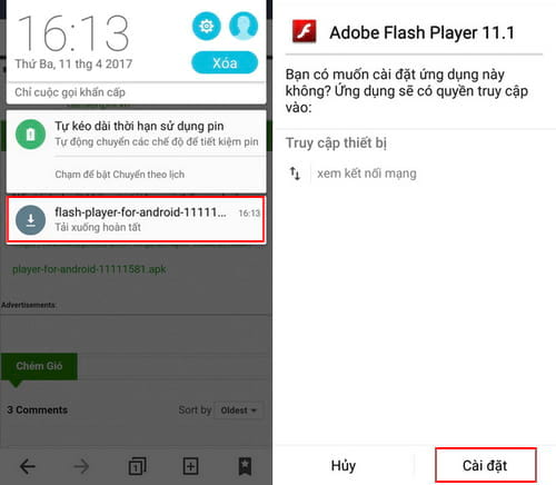 cai dat flash player cho android