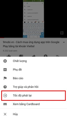 chinh toc do video youtube