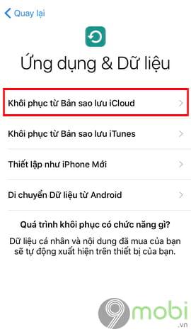 khoi phuc sao luu icloud