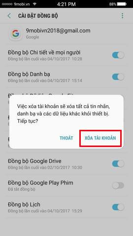 thoat tai khoan google tren android
