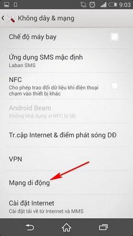 bat 3G tren dien thoai Android