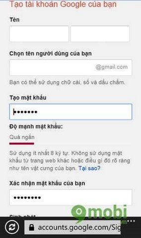 dang ky gmail tren windows phone
