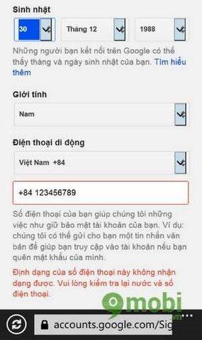 dang ky gmail tren windows phone