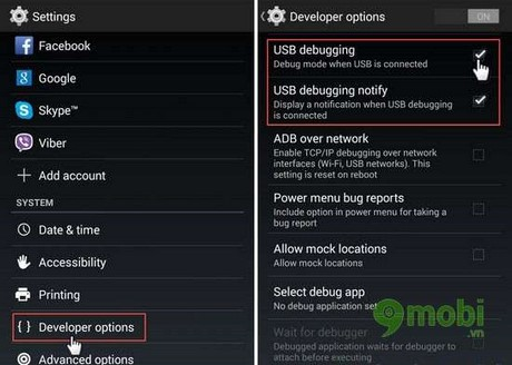 bat che do usb debugging tren android 4.1