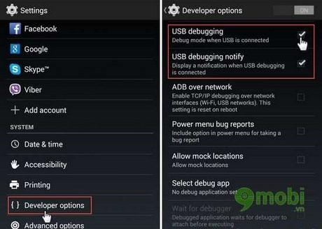 bat che do usb debugging tren android 4.1