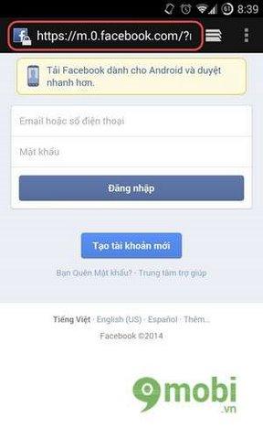 cach vao facebook tren android