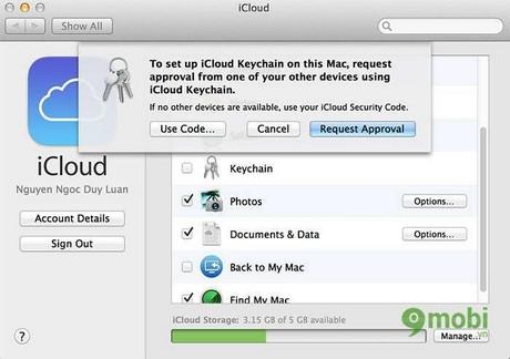 kich hoat key chain tren MAC OS X