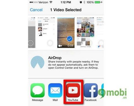 iOS - How to share Full HD video using YouTube on iPhone 6 plus, 6