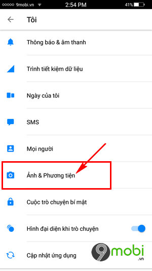 tat luu anh Facebook messenger tren android