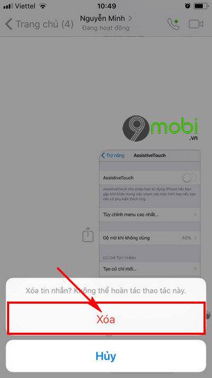 xoa tin nhan Messenger cho iPhone