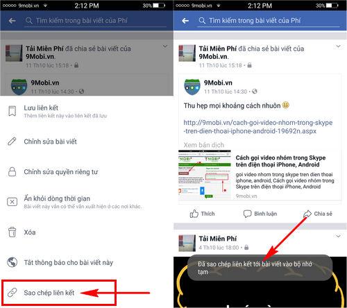 copy lien ket Facebook tren Android, iPhone