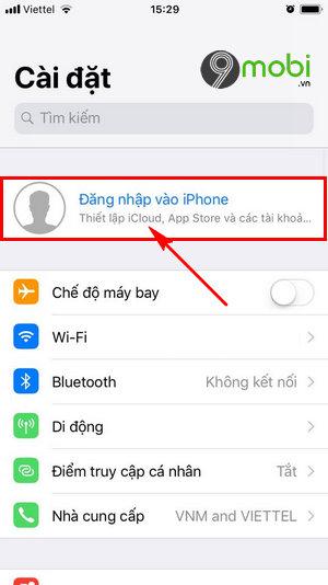 cach dang nhap iCloud tren iPhone