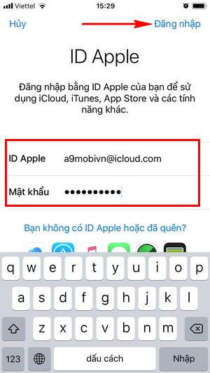 dang nhap iCloud tren iPhone