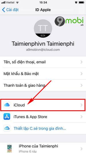 dang nhap iCloud tren iPhone 8