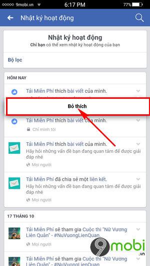 cach xoa binh luan Facebook tren dien thoai
