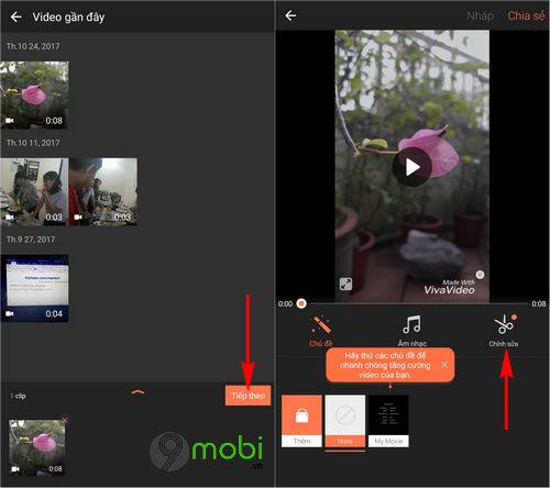 chen chu vao video tren android