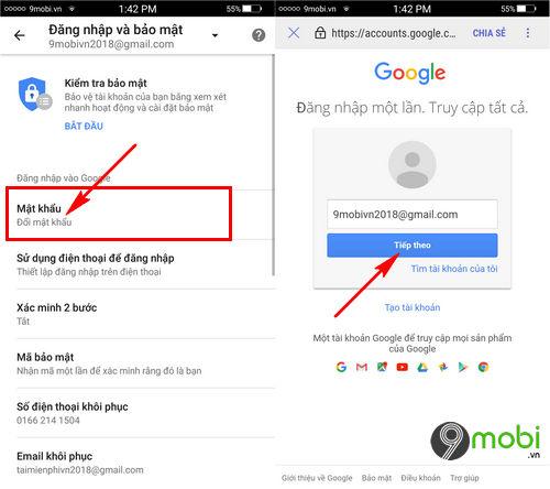 thay mat khau Gmail