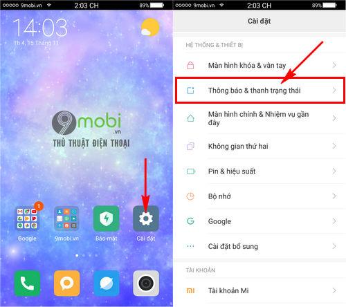 bat thong bao noi zalo tren Xiaomi