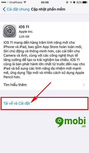 cap nhat iOS 11 cho iPhone, iPad