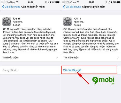cach cap nhat iOS 11 cho iPhone qua OTA