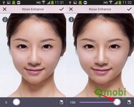 Nâng cao mũi với YouCam Perfect trên Android