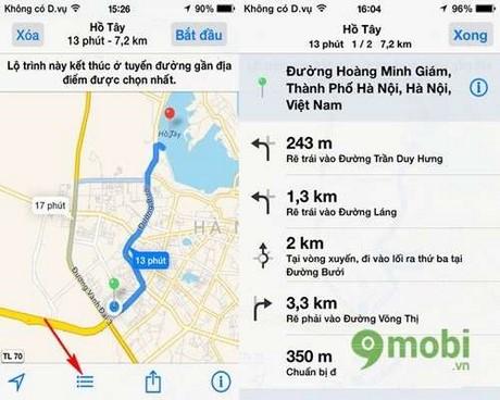 tim duong di qua google map tren iphone